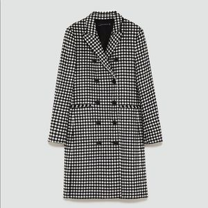 Zara Black White Gingham Print Coat